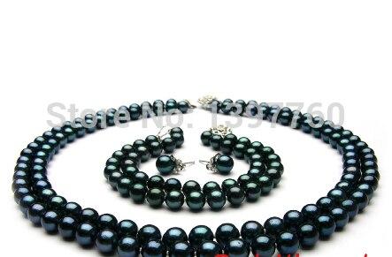 Mlle charme Jew.57 AAA rond noir d'eau douce collier de perles 8