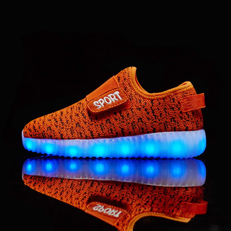 Image 4 - Size 25 37  Kids Led USB Recharge Glowing Shoes Children's Hook Loop Shoes Children's Glowing Sneakers Kids Led Iuminous Shoes-in Sneakers from Mother & Kids