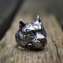 Mens Silver 316L Stainless Steel Animal Rings Strong Muscle Dog Punk Biker Ring Fashion Jewelry customizable 925 sterling silver deep engraved high detail angry lion dog tag mens biker rocker punk pendant 9x010 jp
