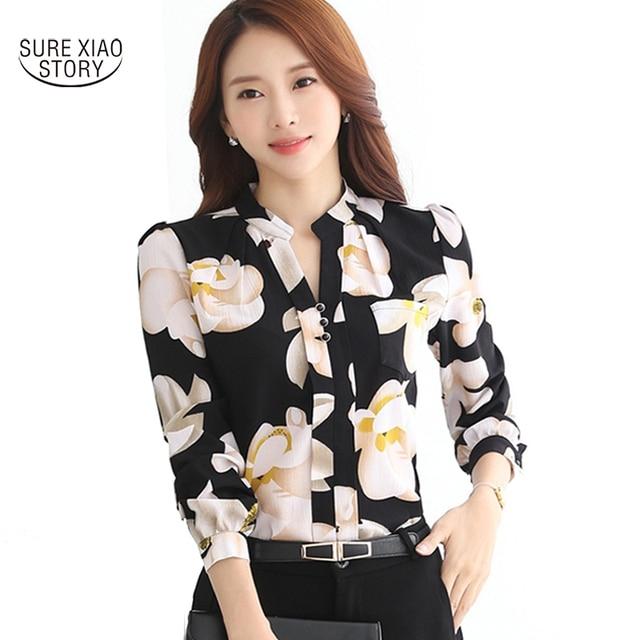 fcca2ab3ff023 2018 New Fashion V-Neck Chiffon Blouses Slim Women Chiffon Blouse Office  Work Wear shirts Women Tops Plus Size Blusas 882G 25