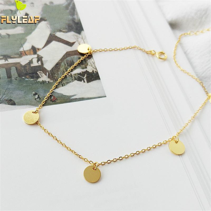 Flyleaf 18k Gold Tassel Round Real 925 Sterling Silver Anklet For Women Fashion Chain Leg Fine Jewelry Anklets On Foot Bracelet