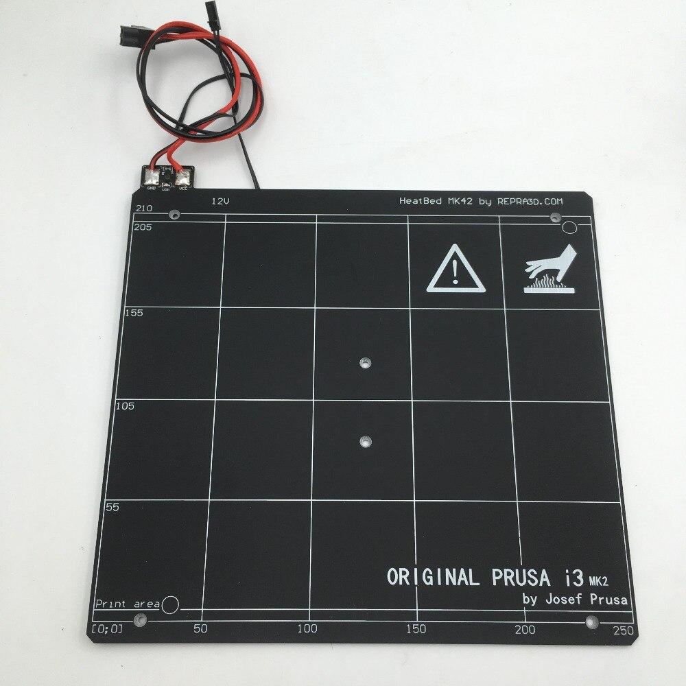 Lit chauffant Original de carte PCB d'imprimante de Prusa i3 mk2/mk2s 3d cloné, épaisseur de 3mm, bande de construction de PEI