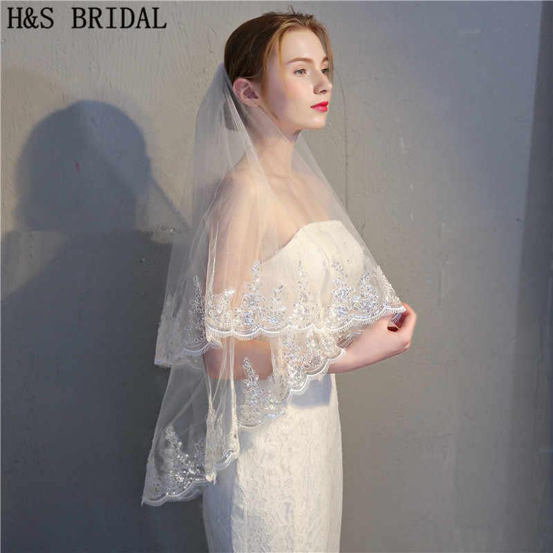 H & S Braut Echt Voile 90 cm Kurze schleier zwei Schichten Spitze Pailletten Rand Elfenbein Weiß Hochzeit Schleier Braut schleier Veu de Noi