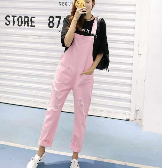 Яркие цвета женские, 1 штука рваные джинсы комбинезон брюки женские джинсовые комбинезоны для женщин розовый белый синий черный комбинезон женский