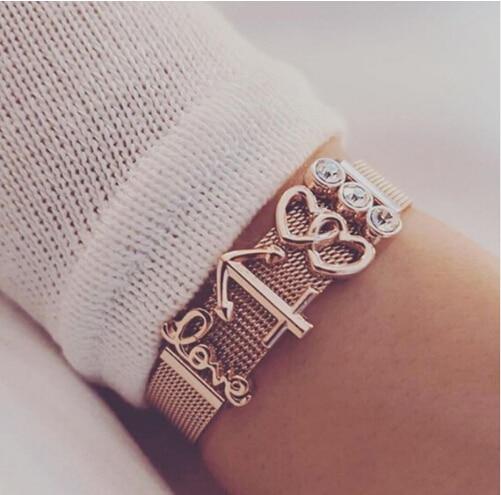 Vinnie Design Jewelry Stainless Steel Mesh Keeper Bracelet with Rose Gold DIY Slide Charms Bracelets Sets цена