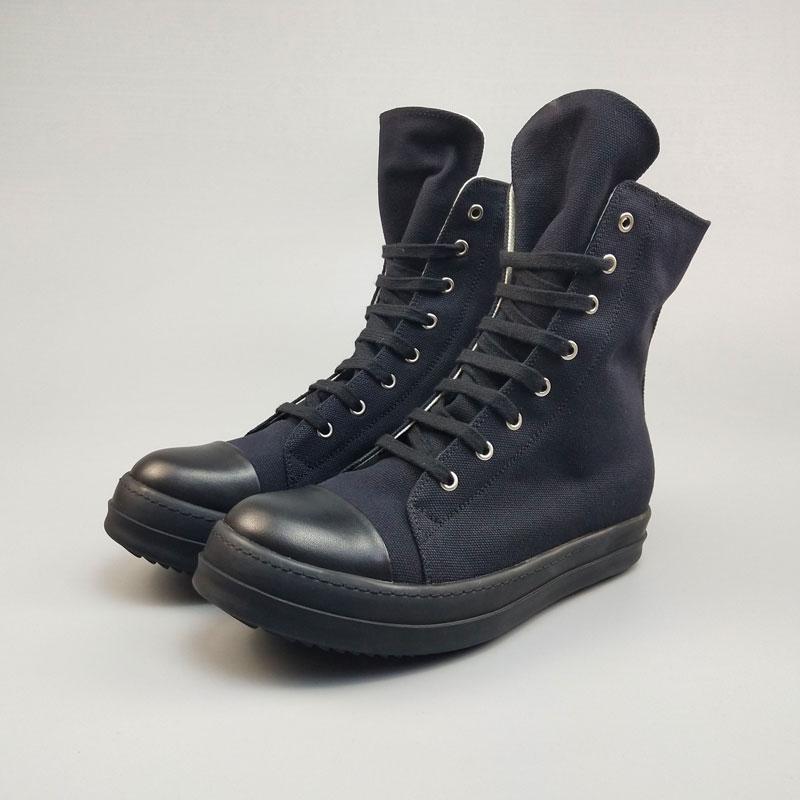 Повседневная мужская обувь из холстины; роскошные высокие кроссовки на шнуровке и молнии; Весенняя Мужская классическая черная Повседневная Брендовая обувь на плоской подошве - 3