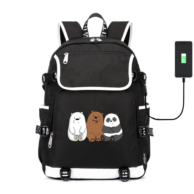 Cute we bare bears shoulder bag Grizzly Panda ice bear School Bag usb charging canvas Backpack Laptop travel bagfor teenagers(China)