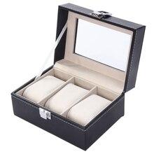 3 Cuadrícula Caja de Reloj de Lujo Negro Cuero de LA PU Caso Exhibición de La Joyería Caja de Almacenamiento de Cajas de Relojes saat kutusu envío de La Gota Al Por Mayor