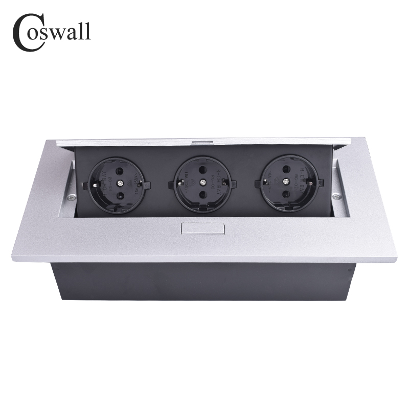 COSWALL Zinc Alloy Plate 16A Slow POP UP 3 Power EU Socket Office Meeting Room Table