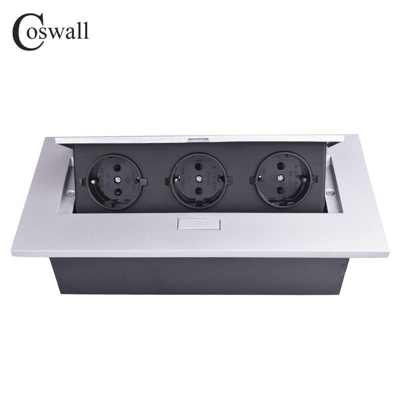 COSWALL пластина из цинкового сплава 16A медленно POP UP 3 Мощность ЕС разъем офис стол для конференц-зала Outlet Черный Модуль прямой край сталь короб...