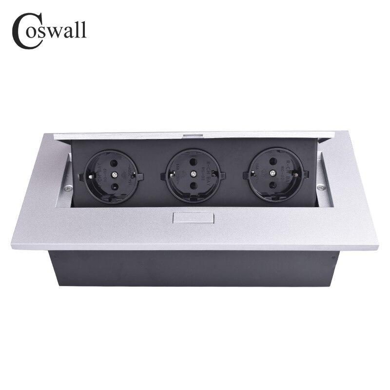 Plaque en alliage de Zinc COSWALL 16A lente POP UP 3 prises de courant EU bureau salle de réunion Table sortie Module noir bord droit boîte en acier