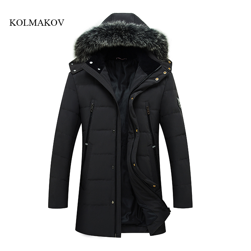 2017 new winter style men long down coats high quality fashion casual mens hooded down jacket mens solid coat size M-3XL