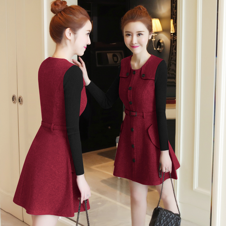 winter new round collar single-breasted cloth dress belt buttons A word women dresses Korean fashion outfit lady vogue vestido 6