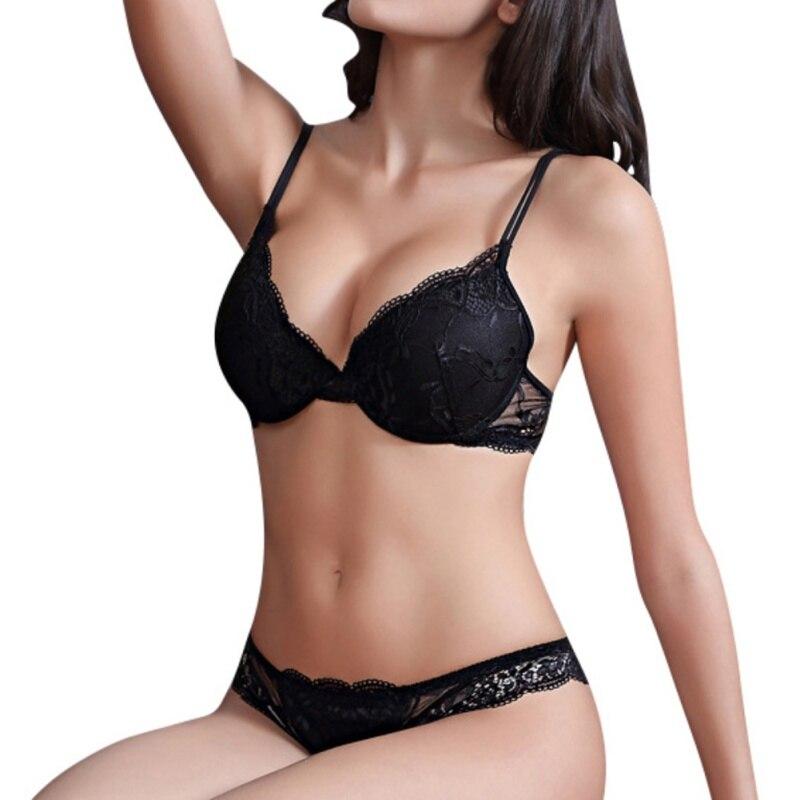 Women Push Up Bra Set Luxury Lace Sexy Under Thin Thick Underwear Bra Suit The Underwire Comfortable Underwear 70A-85C