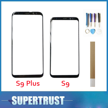 10PCS/Lot For Samsung Galaxy S9 G960 S9 Plus G965 Front Outer Glass Lens Black Color With Tape For Free