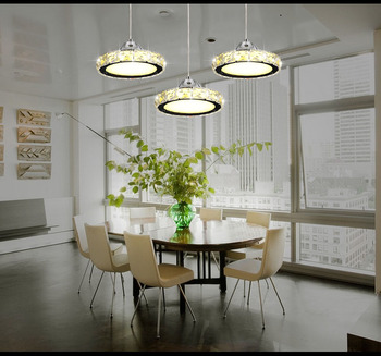 Ring LED  minimalist European round pendant lamp three creative head table lamp crystal restaurant dining pendant light TA10173