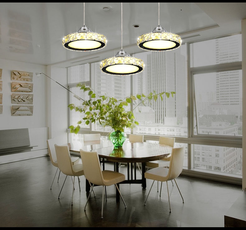 Ring LED modern minimalist European round pendant lamp three creative head table lamp crystal restaurant dining pendant light free shipping modern dining table designs discount lamp shades