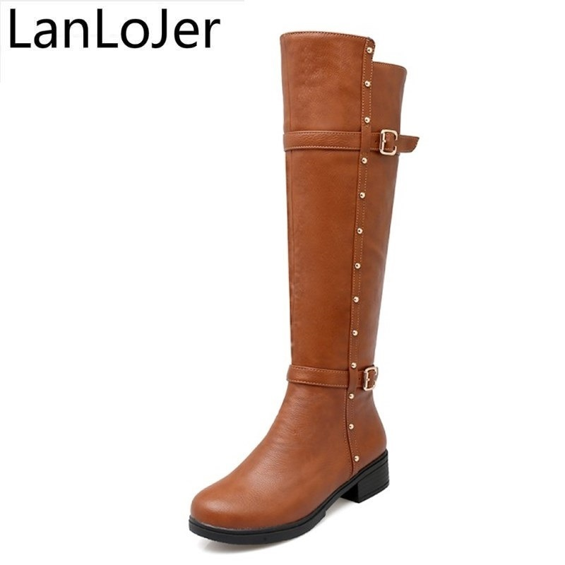 LanLoJerAutumn Warm Shoes Thigh High Womens Winter Boots Pu Leather Med Heels Knee High Boots Women Plus Size Shoes Woman 34-43