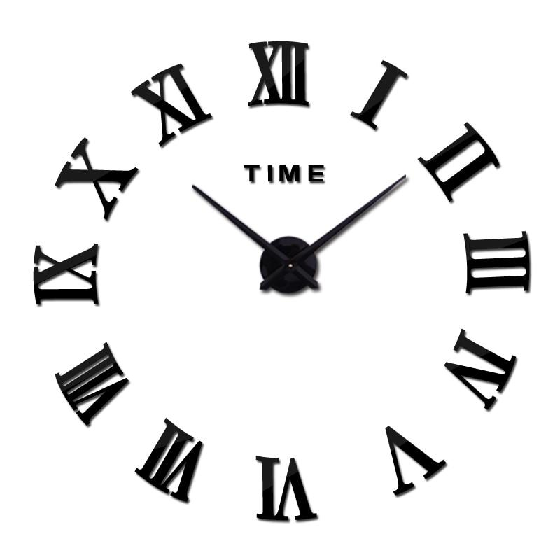 Yeni divar saatı akril güzgü diy saatlar kvars saatıHome Dekorasiya Qısaca müasir qonaq otağı böyük divar stikerləri