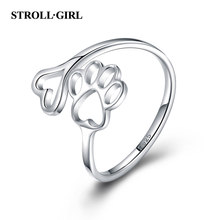 Beauty Hollow Paw Print 925 Sterling Silver Ring Open Adjustable Ring Pet Jewelry Creative Pierced Love Dog Cat Claw Ring(China)