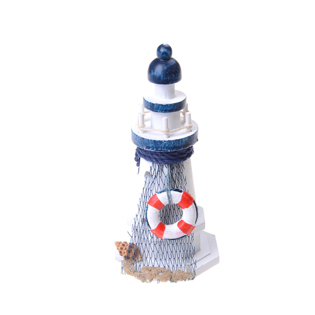 Starfish Shells Red Lifebouy Nautical Decor Wooden Lighthouse Light Tower  Handmade Home Office Shelf Desk Toy