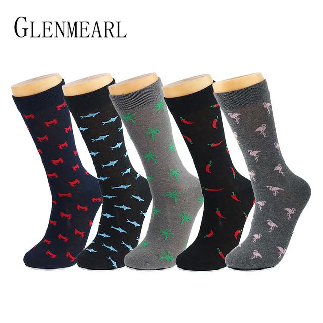 Cotton Men Socks Brand Spring Fall Plus Size Quality Compression Coolmax Black Grey Pattern Business Dress Male Socks