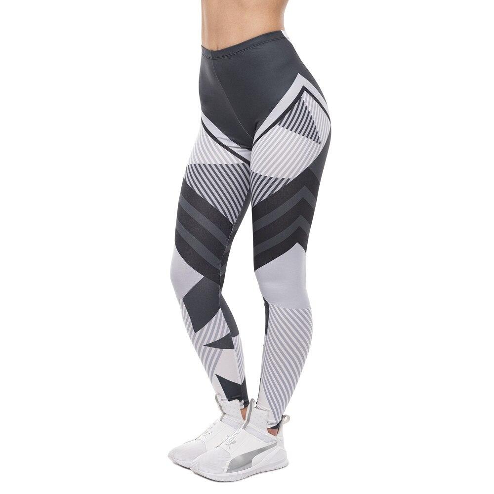 High Quality Women Legging Dark Gray Stripes Printing Fitness Leggings Fashion High Waist Woman Pants