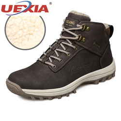 UEXIA 2018 Winter Men Martin Boots Timber Land Shoes Tooling Boots Safety Work Shoes Non-Slip Fur Warm Plush Ankle Boots Walking
