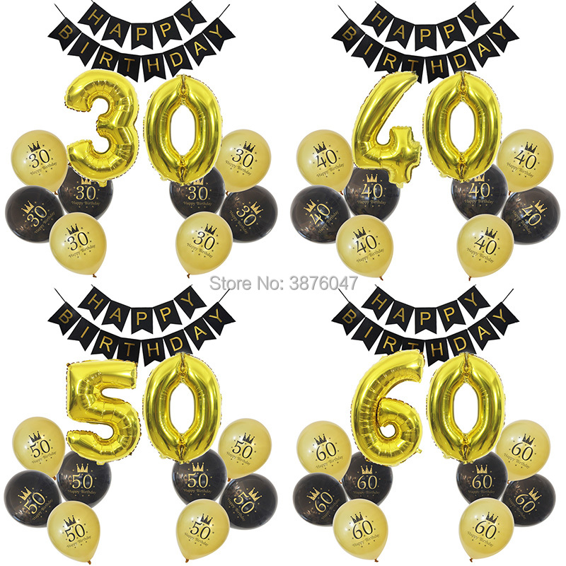 30th 40th Birthday Banner 50th 60th 70th 80th Decorations Digital Balloons Adult Gold Black Party Ballons