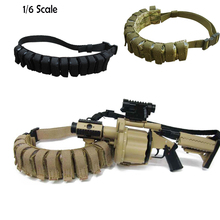 "Adjustable Length Cloth 1/6 Scale Bandolier Cartridge Belt 12 Shells Black Great Accessory for 1/6 SCALE 12"" Action Figure Body"