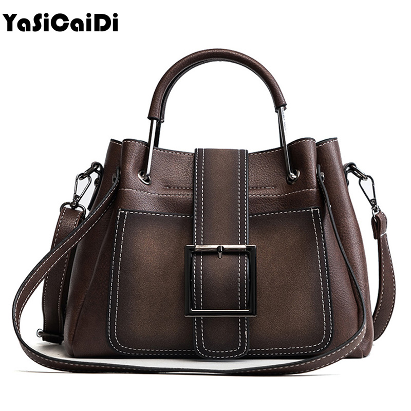 YASICAIDI Leather Women Handbag Scurb Leather Women Shoulder Bags Metal Handle Casual Tote Bag Wide Strap Top -Handle Handbags 120cm replacement metal chain for shoulder bags handle crossbody handbag antique bronze tone diy bag strap accessories hardware