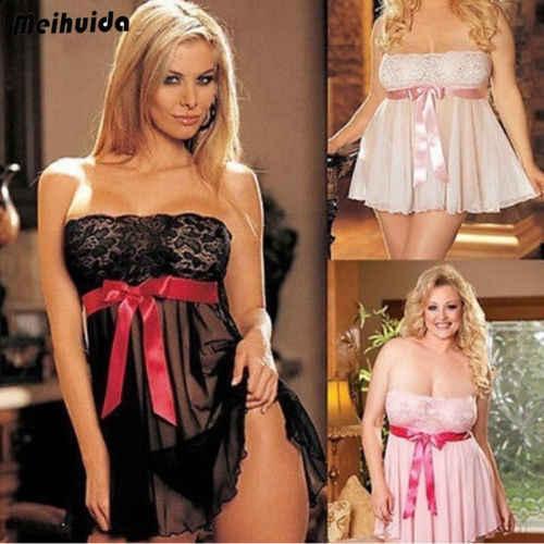 Gran oferta de talla grande para mujer, vestido rojo sin costuras con lazo y encaje, Babydoll, ropa de dormir, Mini camisón