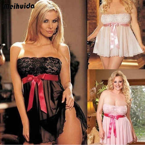 Venda quente Plus Size Mulheres Grampeador Bowknot Lace Vestido Babydoll Sleepwear Mini Camisola Vermelha