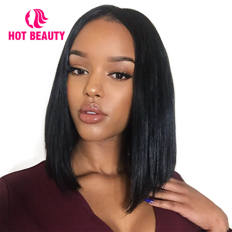 Hot Beauty Hair Lace Front Human Hair Wigs Short Bob Wig Silky Straight Brazilian Virgin Hair 180 Density 4*4 Inch Lace Wig