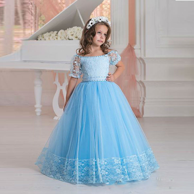 2018 Blue Lace Flower Girl Dresses For Weddings Kids Pageant Gowns Tulle Party Communion Dress With Short Sleeves Vestidos lace long sleeves flower girl dress with butterfly decoration keyhole back blue tulle kids party ball gowns with satin sash bow