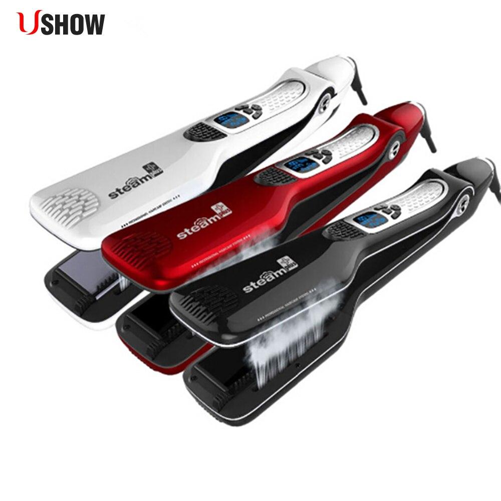 Vapor eléctrico hierro plancha de pelo hierro plano del pelo profesional personalizada Steampod Vapor plancha de pelo peine herramientas