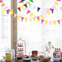 Paper Glitter Pink Triangle Bunting Banner Home Party Garland Wedding Happy Birthday Decoration Flag  Halloween Bannner