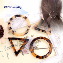 VOT7 vestitiy 2017 fashion women Geometric Triangle Ink Leopard Hairpin Hair Clips Hair Accessories Oct 11