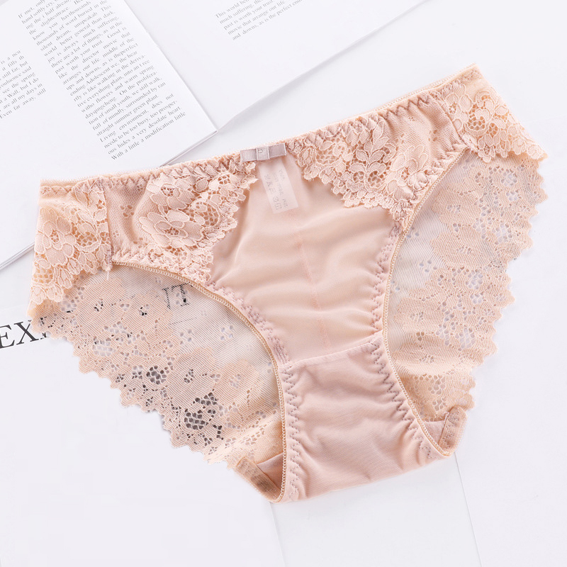 Buy OLN Sexy Lace Side Women Underwear Transparent Seamless Ice Silk Panties Funny Hollow Breathable Panties Low Waist Female Briefs
