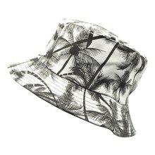 New Unisex Fashion Summer Reversible Black White Coconut Tree Printed Fisherman Caps Print Bucket Hats Gorro Pescador Men Women
