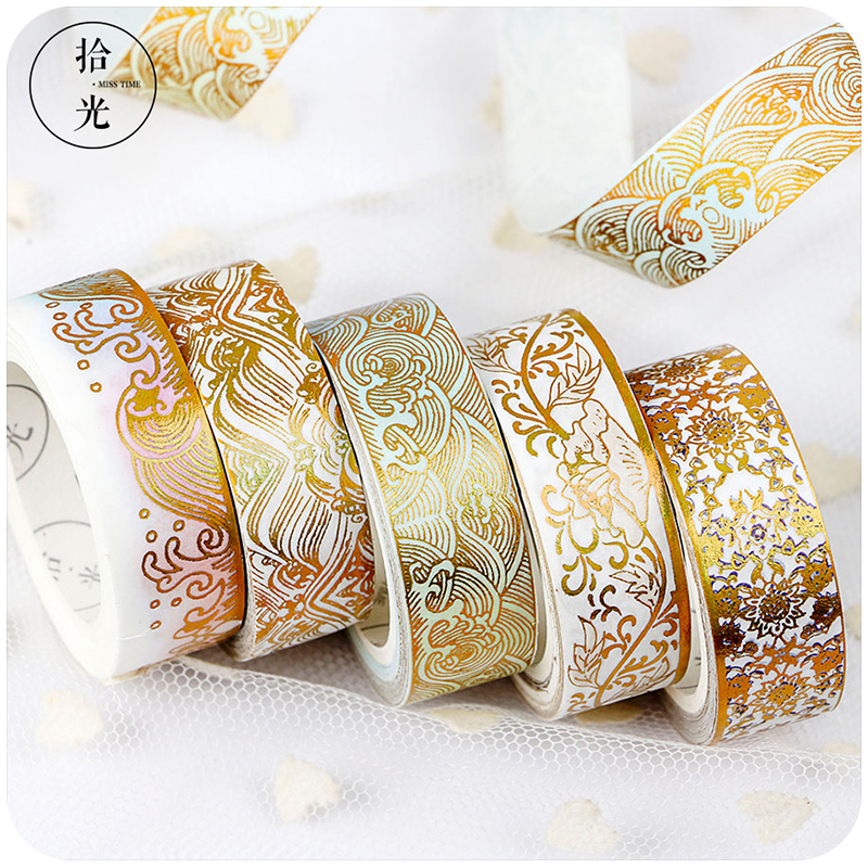 Masking Gold Foil Foiled Diy Craft Glitter Crane Paper Sticky Adhesive Chinease Pattern Washi Tape Stationery School Supplies