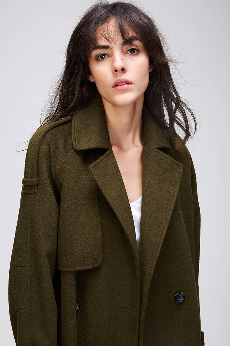 JAZZEVAR 19 Autumn winter New Women's Casual wool blend trench coat oversize Double Breasted X-Long coat with belt 860504 10