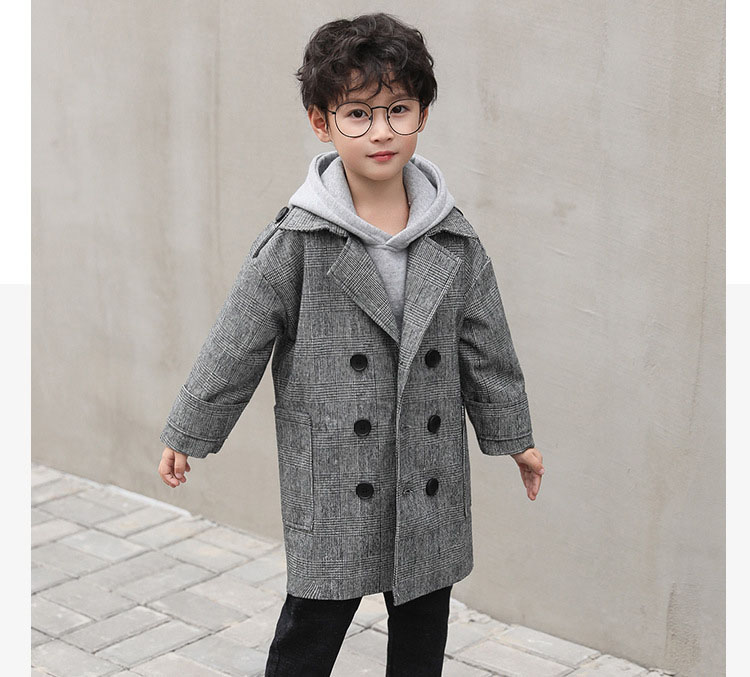 gray plaid pockets long jackets for baby boys fashion trench coats clothing kids autumn children outerwear tops clothes new 2018 (7)