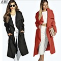 Fashion Women Wide Lapel Lace Up Belted Solid Long Wool Blend Trench Coat