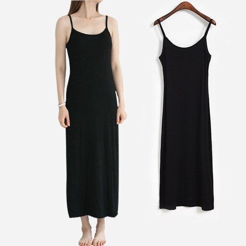 Длинное облегающее нижнее белье из модала, 125 см, с круглым вырезом, на тонких бретельках, большого размера
