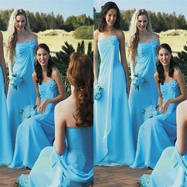 Vestido azul boda playa