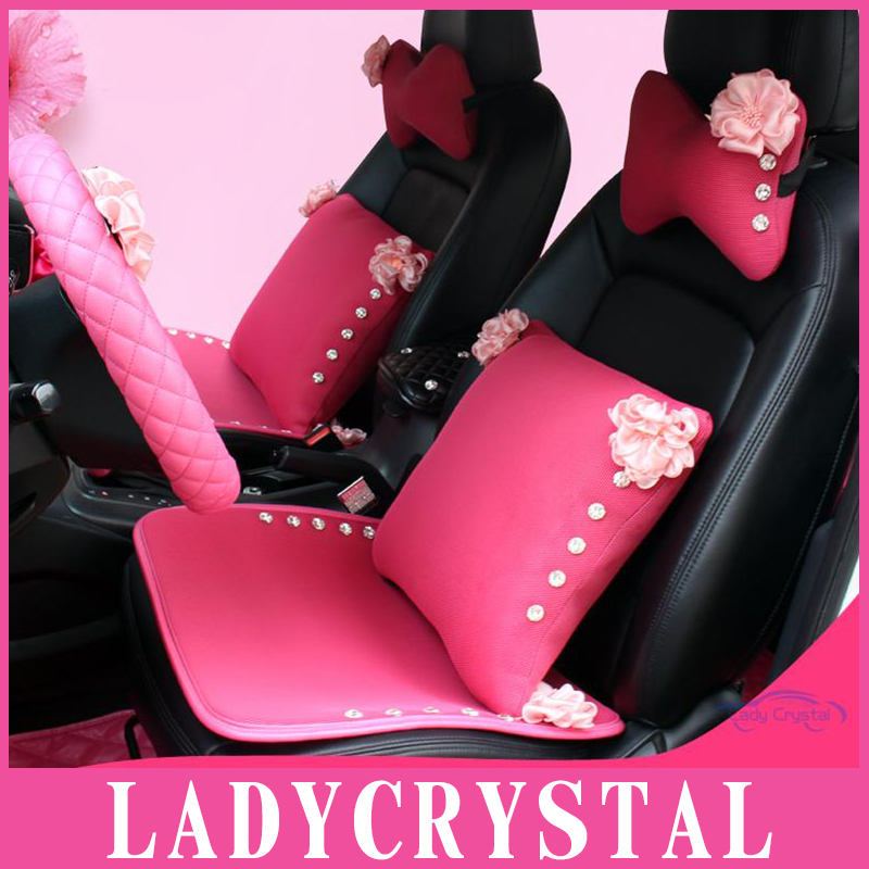 Ladycrystal Pink Series Auto Interior Decoration Accessories Shoulder Cover Gear Shift Collar Handbrake Grip Storage Bag