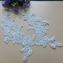 Beautiful Hot Sell Bleaching Black Off White Fabric Flower Venise Sewing Lace Applique DIY Craft T67