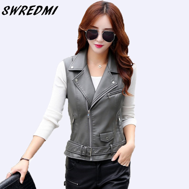 017f53dee02e SWREDMI Women Vest 2018 New Arrival Sleeveless Leather Jacket Motorcycle Vest  Tops Outerwear Clothing XS-