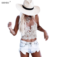 Summer Women Lace CropTops Embroidery White Backless Sexy Gauze Cami Spaghetti Strap Short Beach Party Cropped